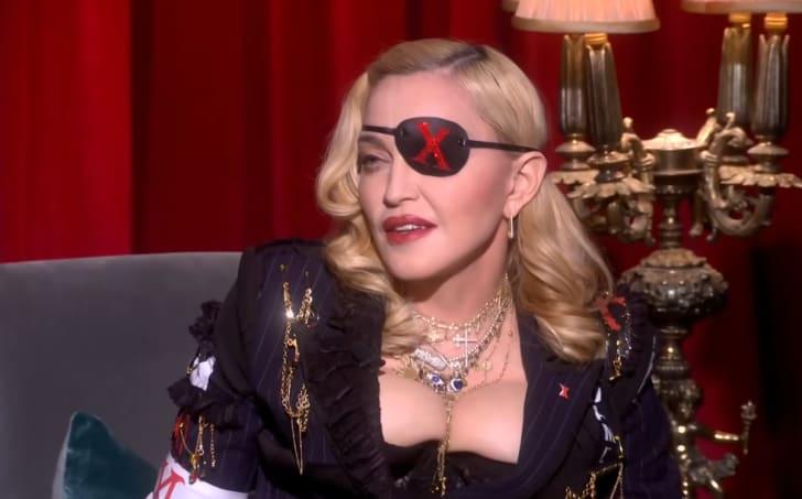 Madonna being interviewed by MTV