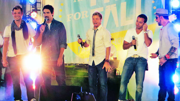 Backstreet Boys on stage during their performance at Old Navy Fit For Fall Fashion Show on September 14, 2012.