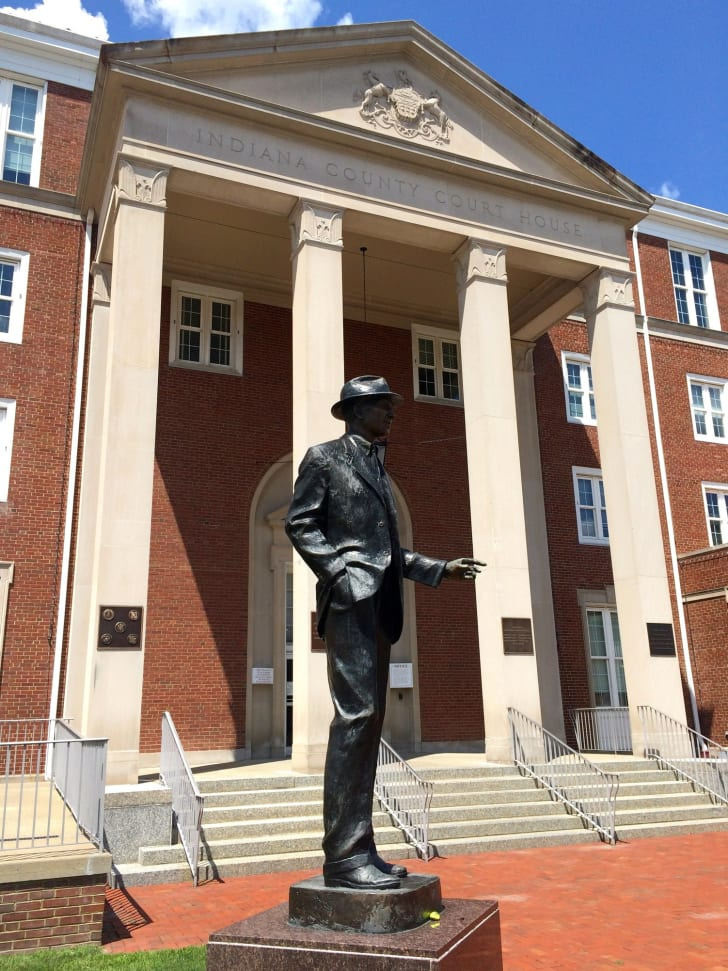 A statue of James Stewart outside the Indiana County Courthouse, Indiana, Pennsylvania