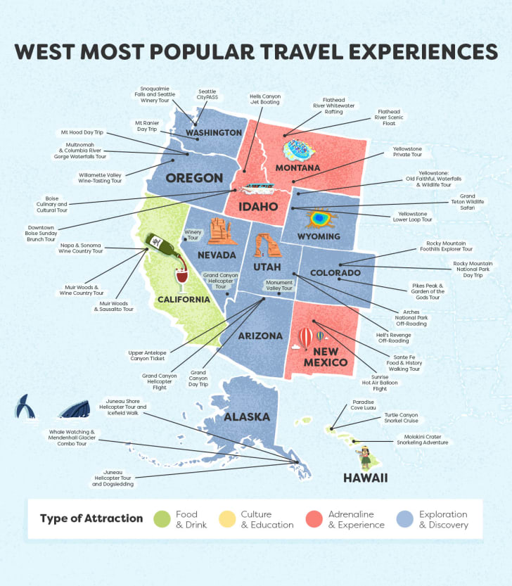 Map of the Western region of the United States, listing some of the most popular tourist destinations in the area