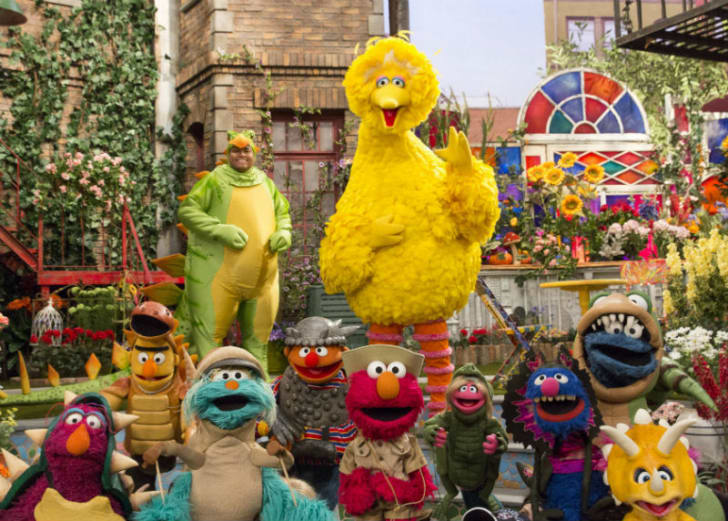 The characters from 'Sesame Street' are pictured