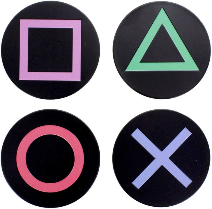 A set of four Playstation coasters is pictured