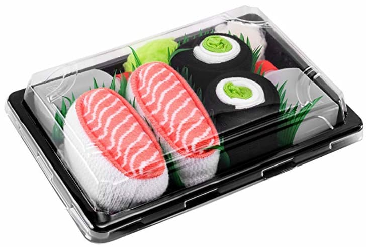 Sushi socks in a box.