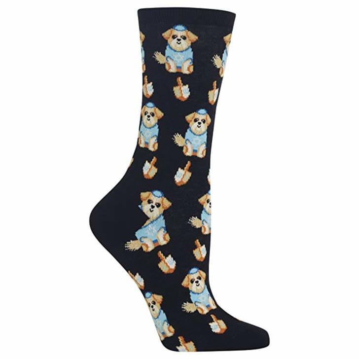 Dreidel dog socks.
