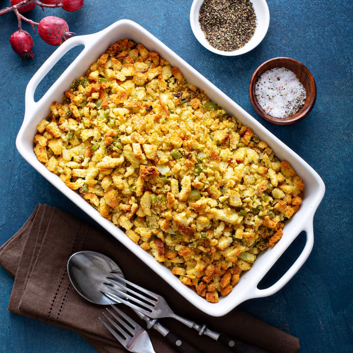 A traditional stuffing side dish for Thanksgiving in a baking pan