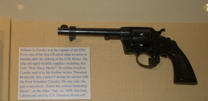 The Colt revolver that once belonged to Theodore Roosevelt is pictured on display at Sagamore Hill