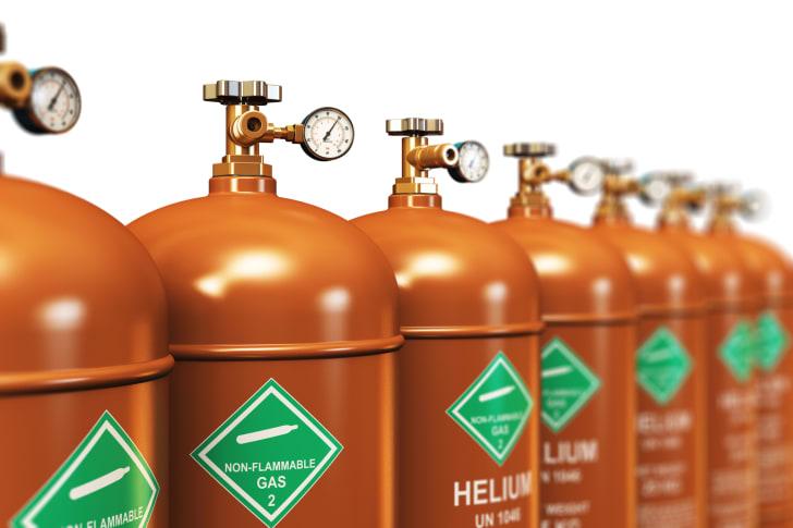 A row of helium tanks