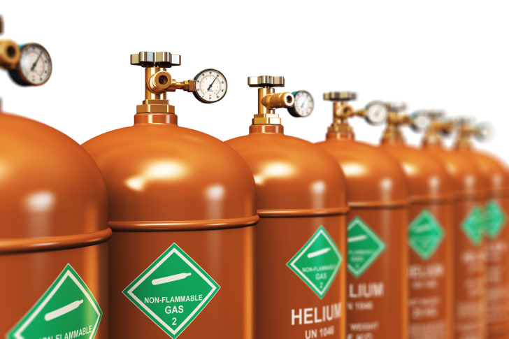 A row of helium tanks