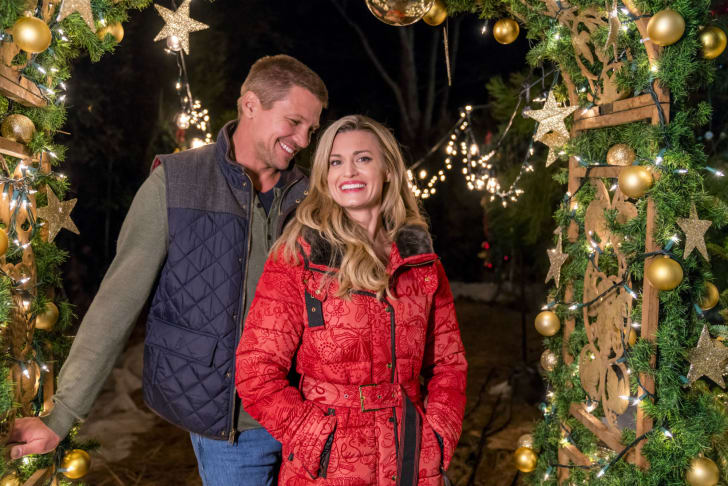 Actors Brooke D'Orsay and Marc Blucas are pictured in a publicity still from the 2017 Hallmark Channel original movie 'Miss Christmas'