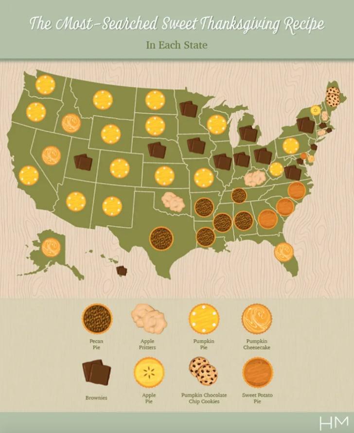 Most popular Thanksgiving desserts map.