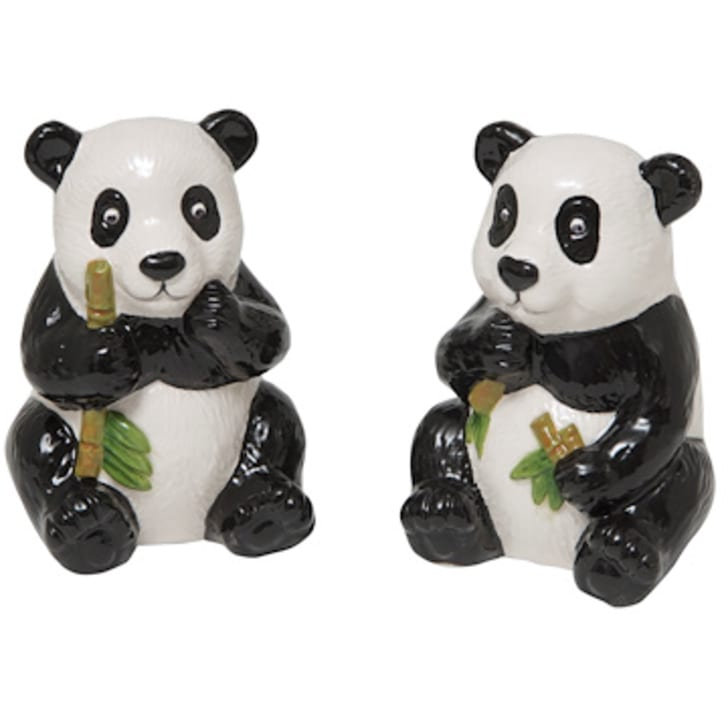 Image of two salt and pepper shakers shaped like pandas holding bamboo