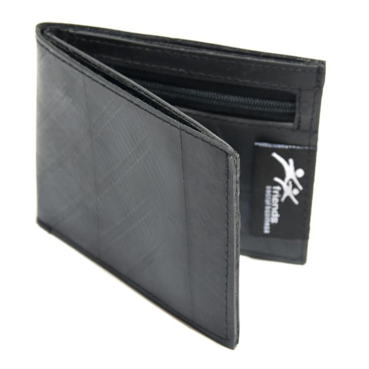 Image of a folded black wallet. The wallet is slightly open in this image, revealing an inner zipper and a pouch for cash