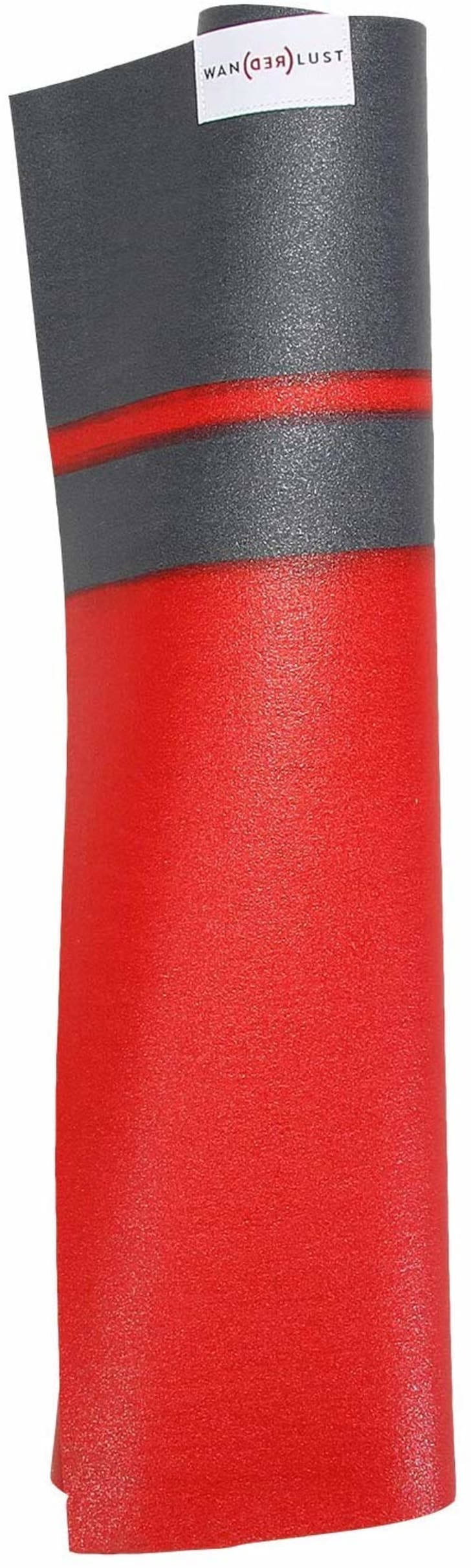 Image of a rolled-up red yoga mat with two gray stripes near the top.