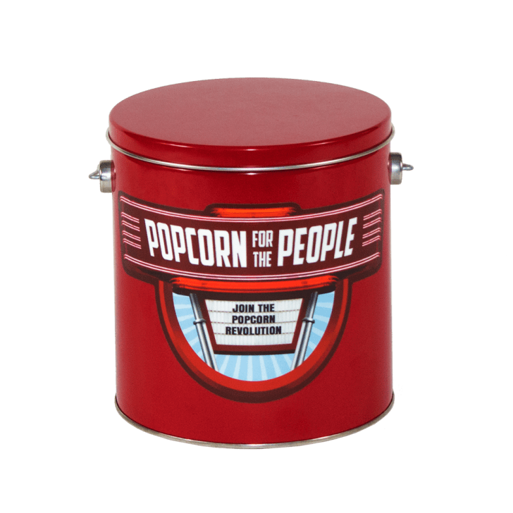 Image of a large red popcorn tin with the logo for Popcorn for the People on the front