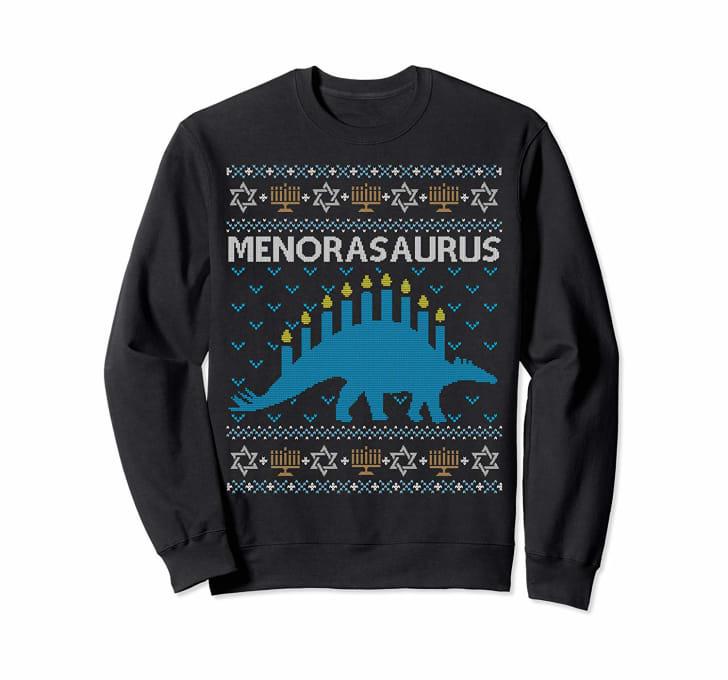menorasaurus hanukkah christmas sweater