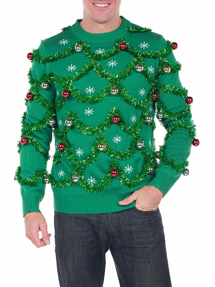 garland and bauble ugly christmas sweater