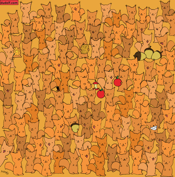 Hidden image puzzle of mouse in crowd of squirrels.