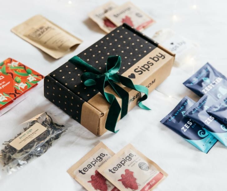 Assorted teas and Sipsby tea subscription service packaging