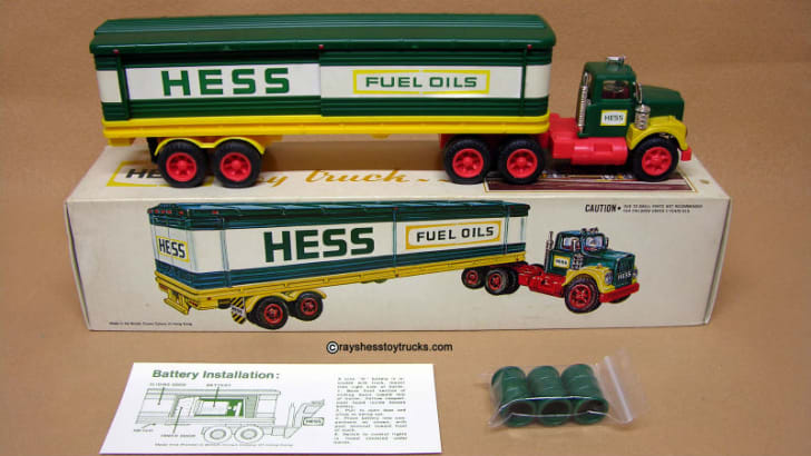 A 1975 Hess 'Barrel' Tanker Truck is pictured
