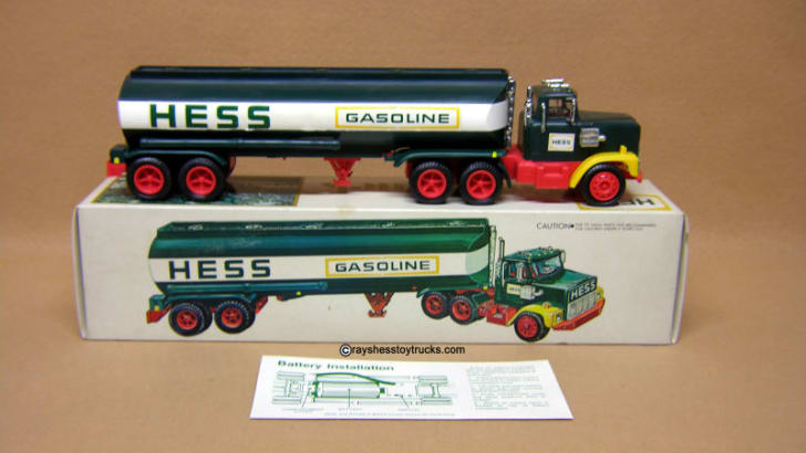 A 1977 Hess 'Black Switch' Tanker Truck is pictured