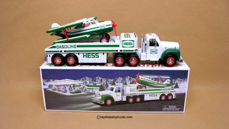 A 2002 Hess Truck and Airplane set is pictured
