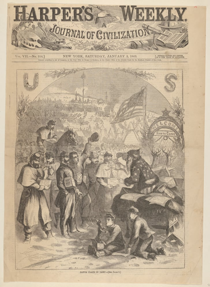 harper's weekly santa claus at camp by thomas nast