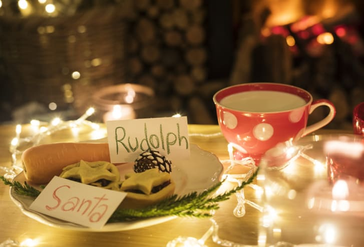 Images of cookies and milk left for Santa and Rudolph