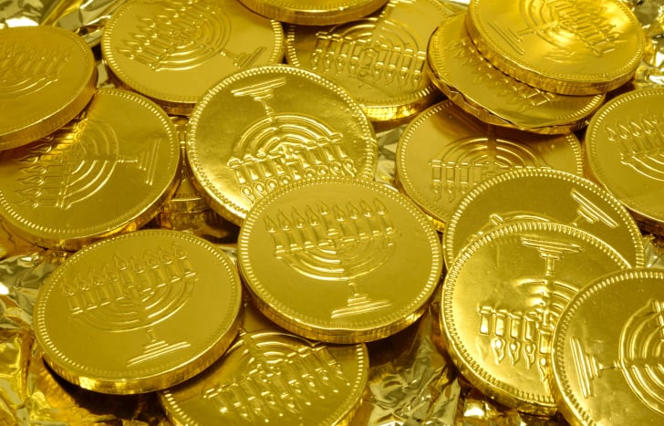 Hanukkah gold gelt coins