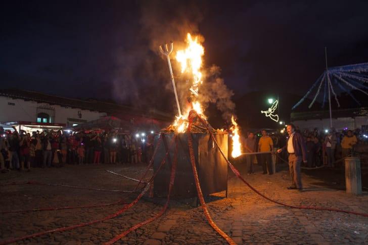 Bonfires in Guatemala on La Quema del Diablo