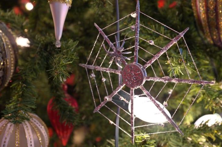 A Ukrainian spider web Christmas tree ornament