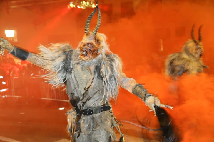Krampus characters parade on St Nicholas' day