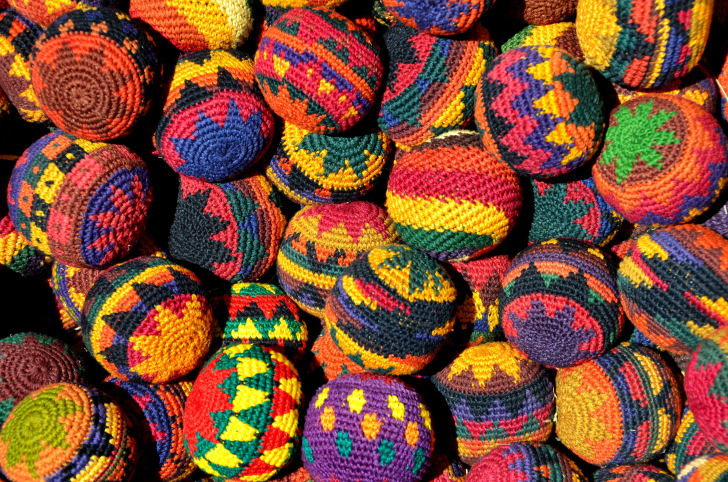 A pile of colorful hackey sacks