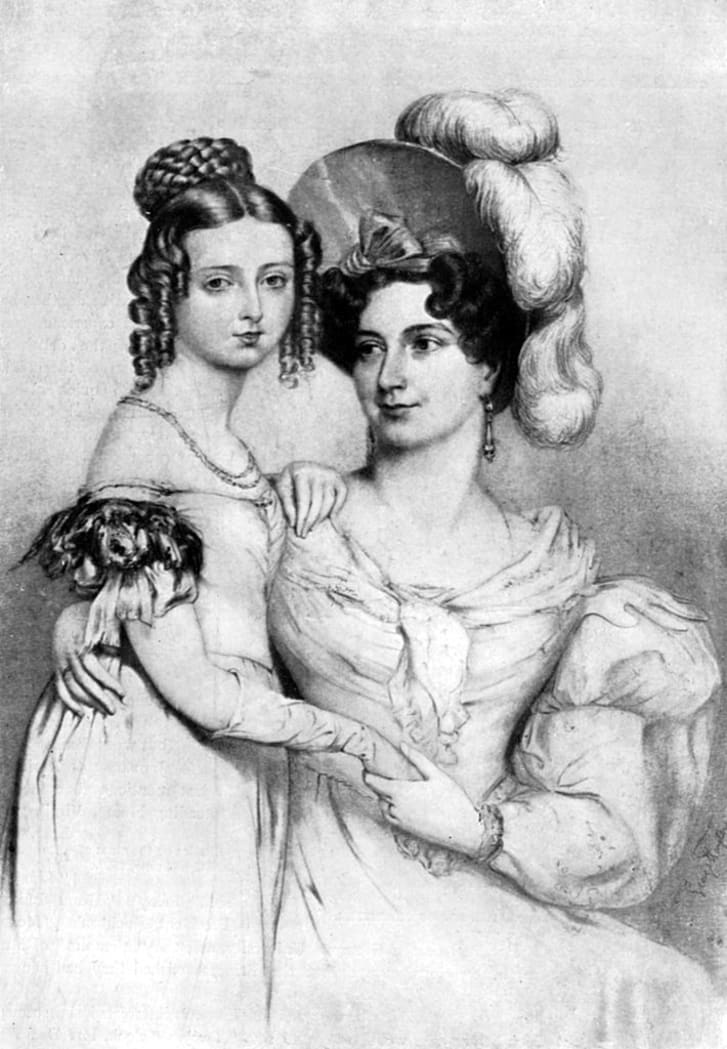 Princess Victoria and her mother in 1834