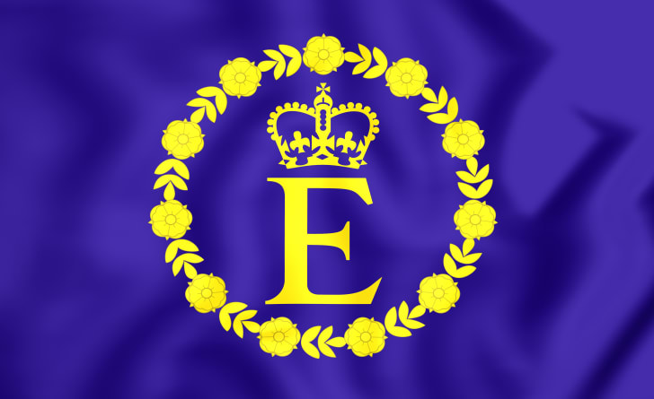 A violet flag with yellow E in the center, topped by a yellow crown and ringed by yellow flowers