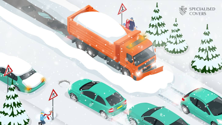Puzzle of winter road hazards.