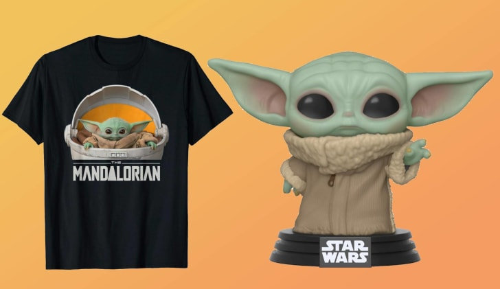 Baby Yoda Merchandise: T-Shirts and Funkos.