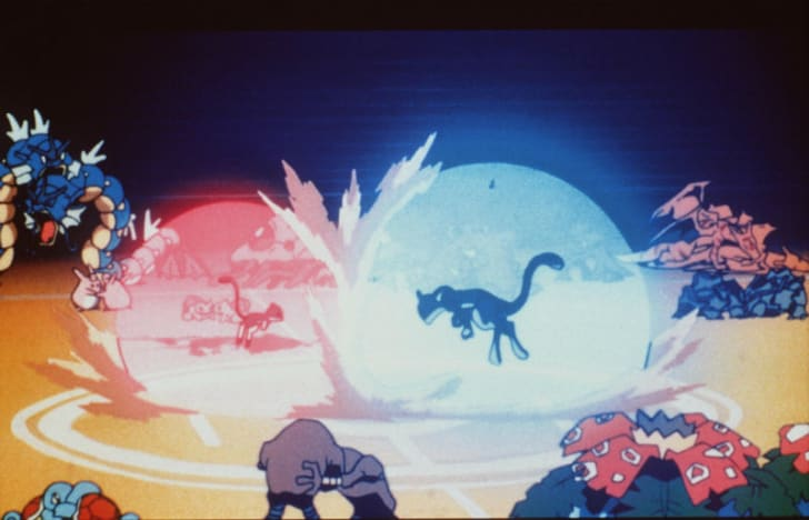 Mew and Mewtwo are pictured in a scene from 1998's 'Pokémon: The First Movie'