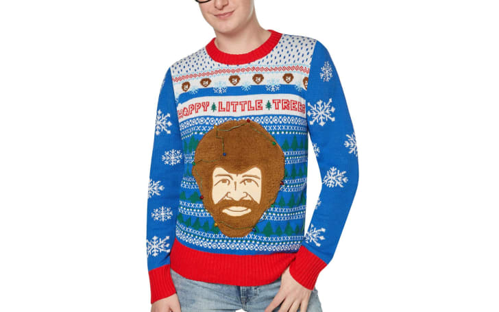 Bob Ross Light,Up Holiday Sweater