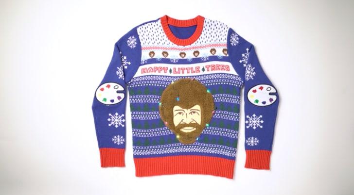 bob ross ugly christmas sweater