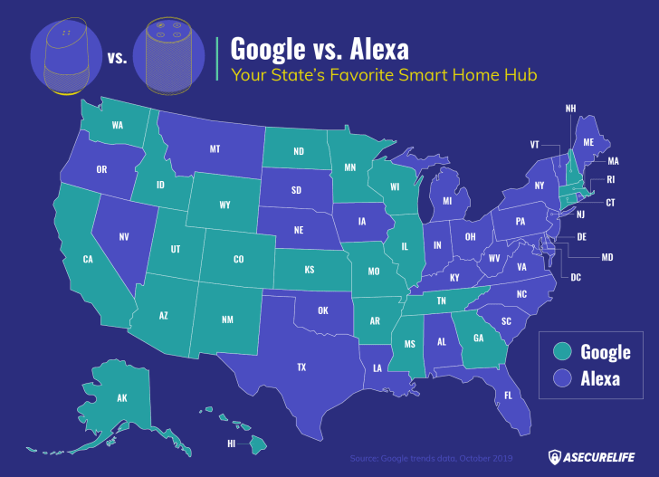 Map of Google Home vs. Alexa searches.