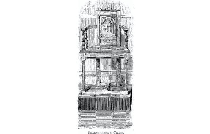 Illustration of chair displayed at Stratford-Upon-Avon in 18th century.