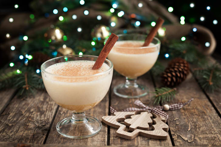 Eggnog in two glass cups