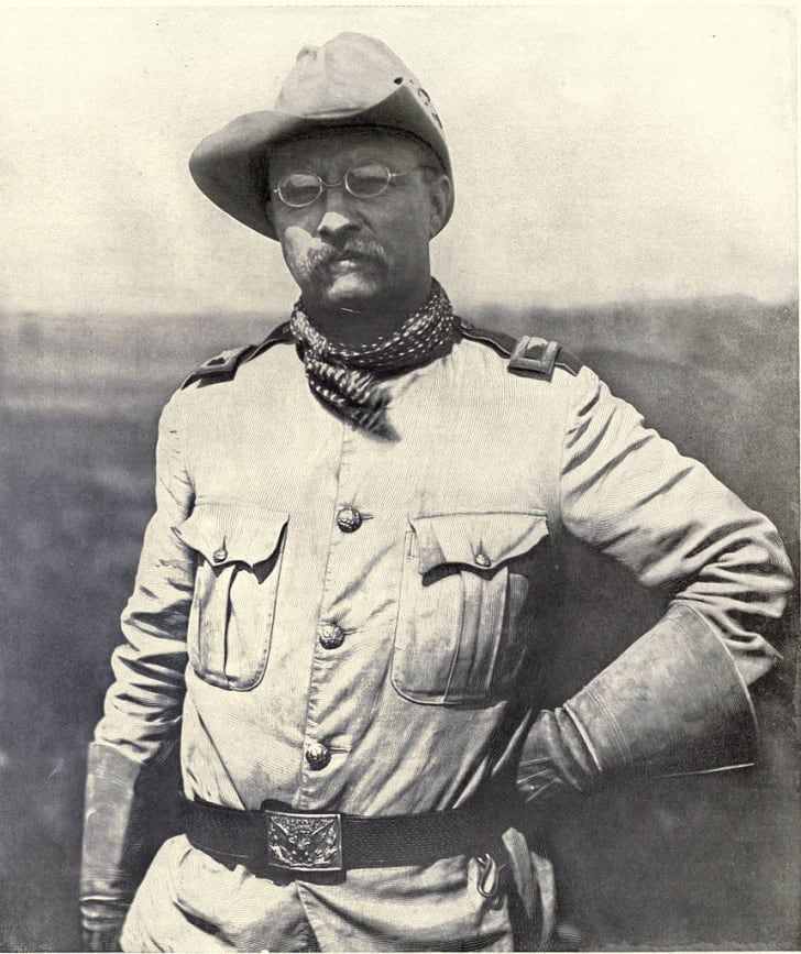 A photo of Theodore Roosevelt as seen during the Spanish-American War.