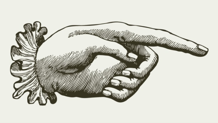 An illustration of a hand pointing a finger is pictured