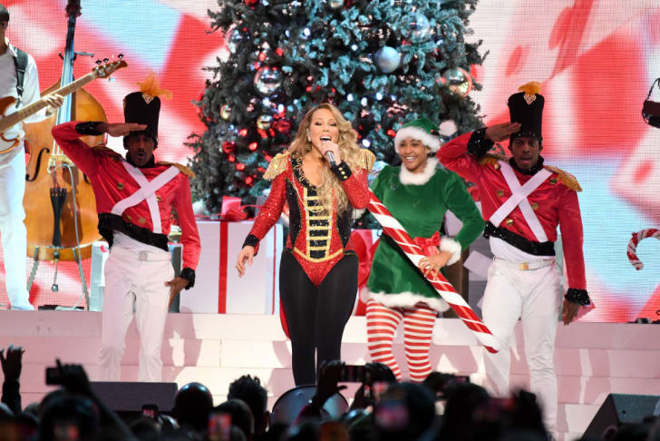 "Mariah Carey performs onstage during her ""All I Want For Christmas Is You"" tour at Madison Square Garden on December 15, 2019 in New York City"
