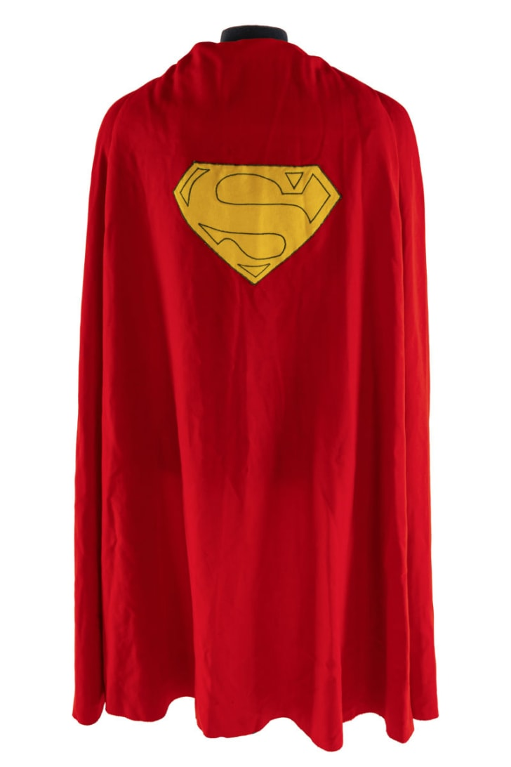 A cape worn by actor Christopher Reeve in 1978's 'Superman: The Movie' is pictured