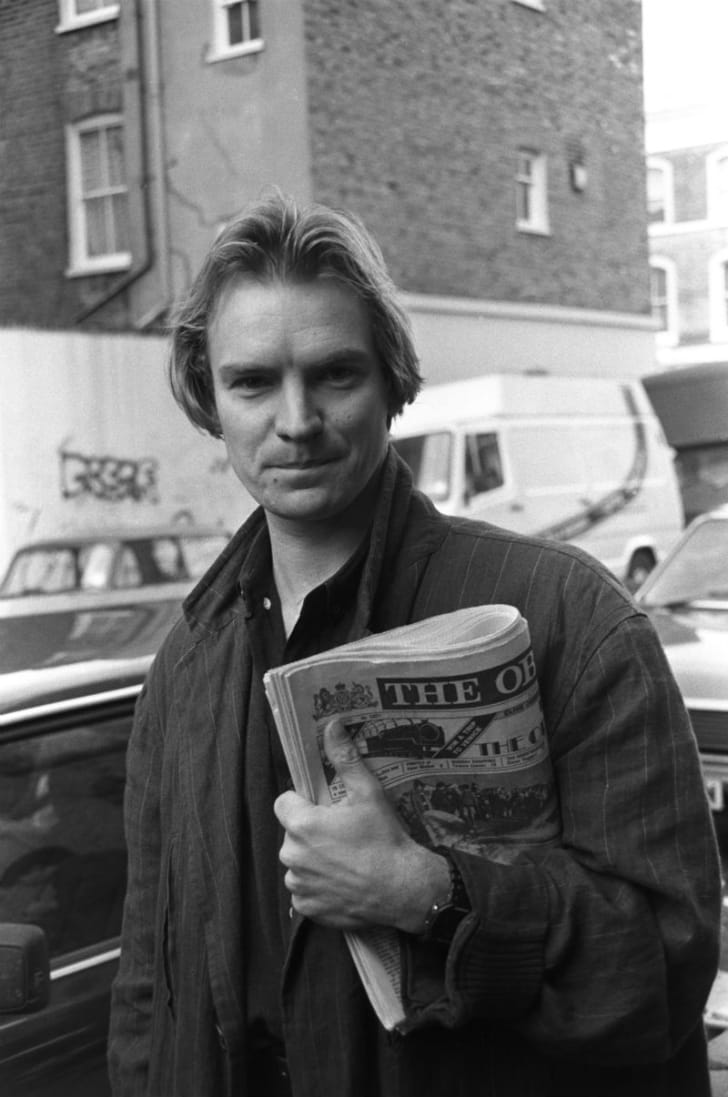 Sting is pictured outside a London recording studio in November 1984