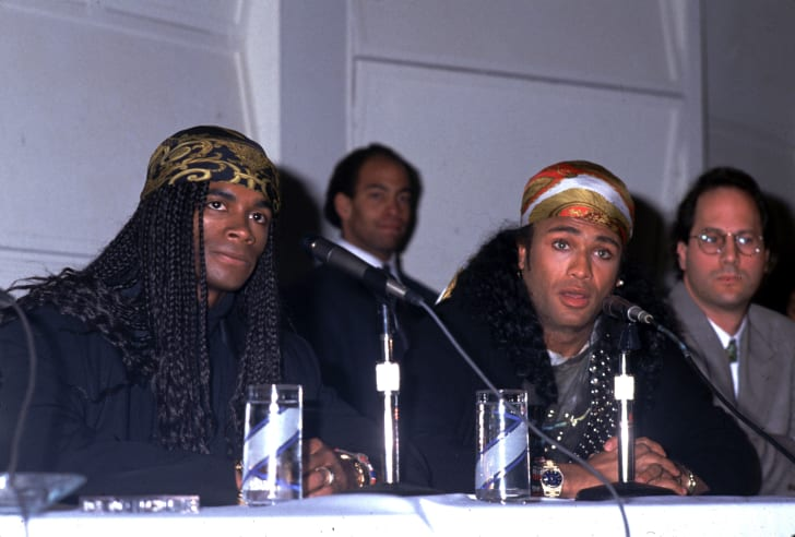 Rob and Fab, singers of the pop group Milli Vanilli attend a press conference November 20, 1990 in Los Angeles, CA
