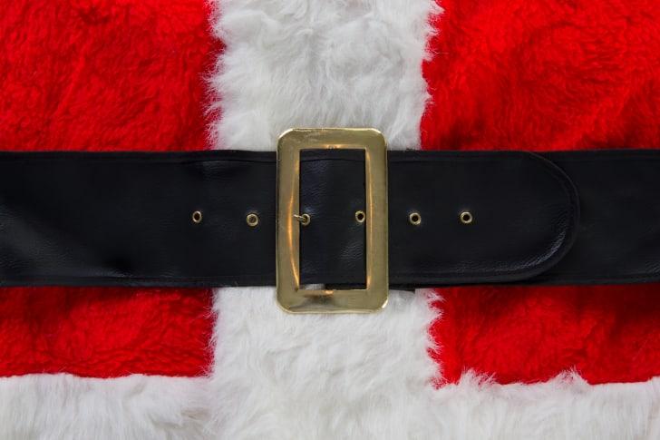 A close-up of Santa's belt.