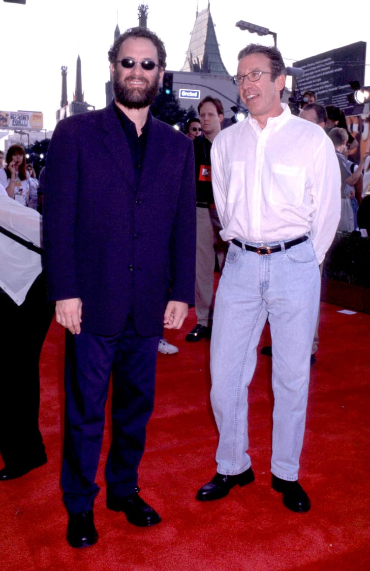 "Tom Hanks and Tim Allen at the premiere of ""Toy Story 2"
